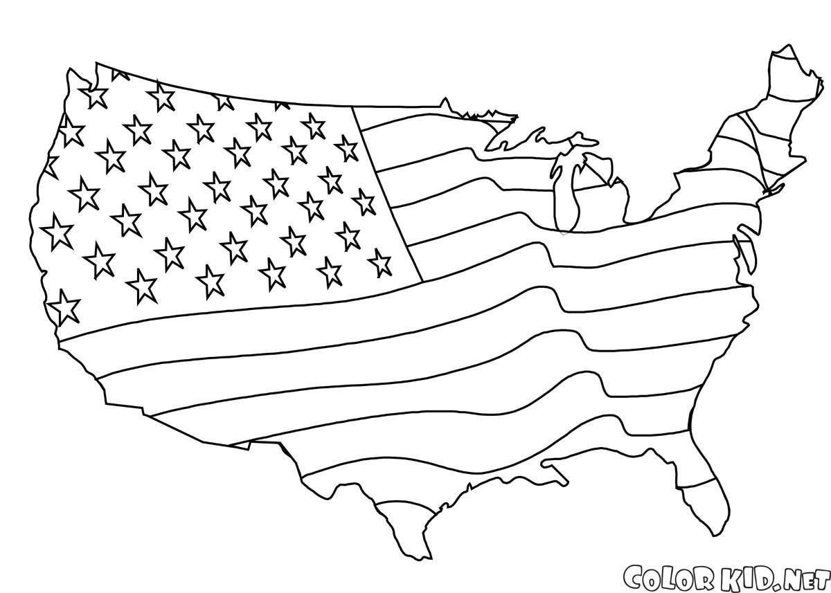 Kolorowanka Ameryka%C5%84ska Flaga Mapa on Mount Rushmore Coloring Page