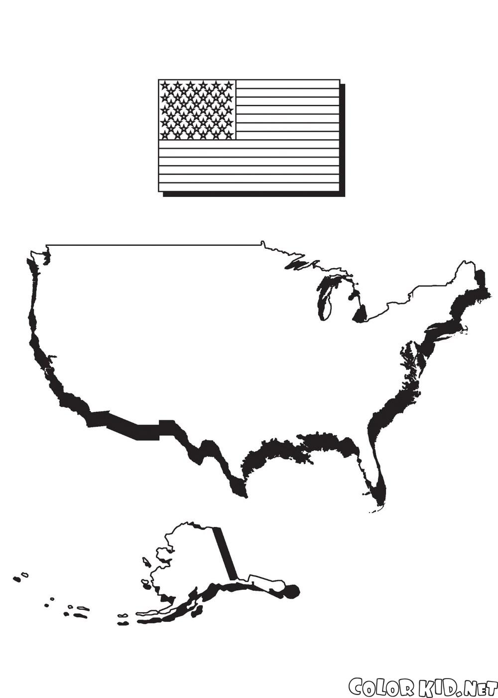 Mapa Ameryki i flagi