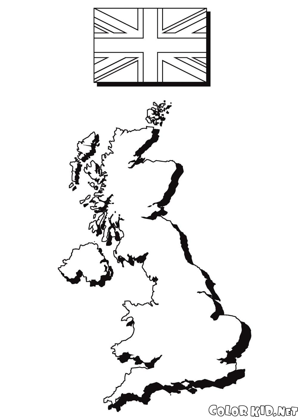 Mapa i fladze Anglii